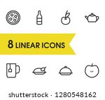meal icons set with pizza  meal ...