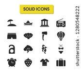 season icons set with suitcase  ...