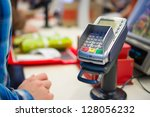 credit card payment terminal in ...   Shutterstock . vector #128056232