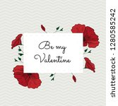 romantic valentines day card...   Shutterstock .eps vector #1280585242