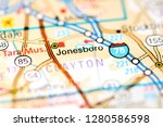 jonesboro. georgia. usa on a map | Shutterstock . vector #1280586598