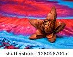 a fully open skyfruit flower of ... | Shutterstock . vector #1280587045