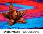 a fully open skyfruit flower of ... | Shutterstock . vector #1280587048