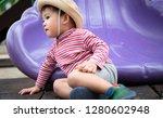 portrait co cute little boy... | Shutterstock . vector #1280602948