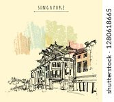 singapore china town drawing.... | Shutterstock .eps vector #1280618665
