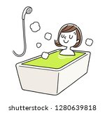 a woman relaxing in the bath   Shutterstock .eps vector #1280639818