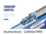 isometric freight train and... | Shutterstock .eps vector #1280667898