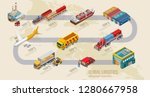 land delivery scheme with... | Shutterstock .eps vector #1280667958