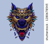 wolf head tattoo illustration... | Shutterstock .eps vector #1280678545