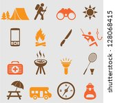 camping icons set.vector | Shutterstock .eps vector #128068415