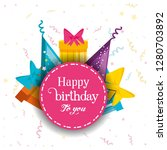 birthday gifts with hats... | Shutterstock .eps vector #1280703892