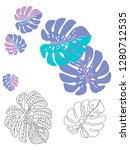 vector tropical pattern with... | Shutterstock .eps vector #1280712535