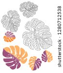 vector tropical pattern with... | Shutterstock .eps vector #1280712538