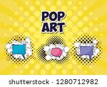 set of speech bubbles with rays ... | Shutterstock .eps vector #1280712982
