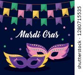 mardi gras card with masks | Shutterstock .eps vector #1280715535