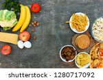 fastfood and healthy food... | Shutterstock . vector #1280717092