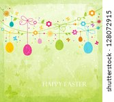 hanging easter eggs  flowers ... | Shutterstock .eps vector #128072915