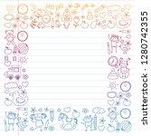 vector doodle set with...   Shutterstock .eps vector #1280742355