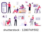online education. women and men ... | Shutterstock .eps vector #1280769502