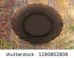 broun plate on a color...   Shutterstock . vector #1280802808