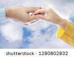 man's and woman's hands on the...   Shutterstock . vector #1280802832