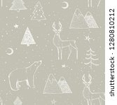 seamless christmas pattern with ... | Shutterstock . vector #1280810212