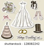 vintage wedding set. vector... | Shutterstock .eps vector #128082242