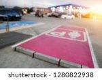 women car park in gas station... | Shutterstock . vector #1280822938