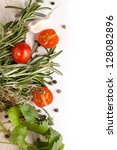 top view on sliced tomatoes...   Shutterstock . vector #128082896
