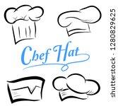 vector set sketch of chef hats  ... | Shutterstock .eps vector #1280829625