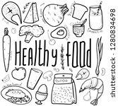 health food. a set of doodles | Shutterstock .eps vector #1280834698