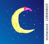 fun cartoon yellow crescent... | Shutterstock .eps vector #1280838025