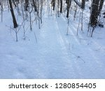 sunlights in winter forest snow | Shutterstock . vector #1280854405
