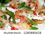 bruschetta with shrimps and... | Shutterstock . vector #1280880628