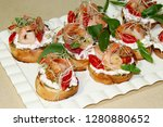 bruschetta with shrimps and... | Shutterstock . vector #1280880652