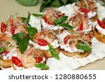 bruschetta with shrimps and... | Shutterstock . vector #1280880655