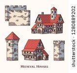 medieval ancient buildings set... | Shutterstock .eps vector #1280889202