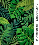 tropical vector green leaves... | Shutterstock .eps vector #1280891542