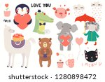 big valentines day set with... | Shutterstock .eps vector #1280898472