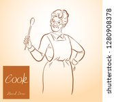 lady chef. cooking. vintage... | Shutterstock .eps vector #1280908378