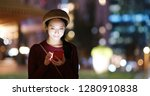 young woman use of mobile phone ...   Shutterstock . vector #1280910838