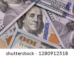 close up of one hundred dollars ... | Shutterstock . vector #1280912518