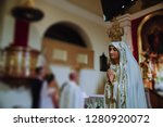 our lady bless the newlyweds in ... | Shutterstock . vector #1280920072