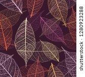 autumn skeleton leaves vector...   Shutterstock .eps vector #1280923288