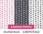 seamless patterns set with hand ... | Shutterstock .eps vector #1280925262