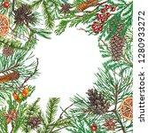 christmas background. hand... | Shutterstock . vector #1280933272