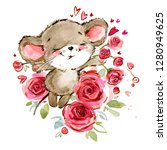 cartoon mouse watercolor... | Shutterstock . vector #1280949625
