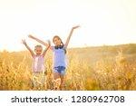 little smiling girls stand on...   Shutterstock . vector #1280962708