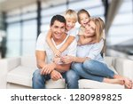 beautiful smiling lovely family ... | Shutterstock . vector #1280989825