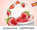 strawberry yogurt with... | Shutterstock .eps vector #1280993368